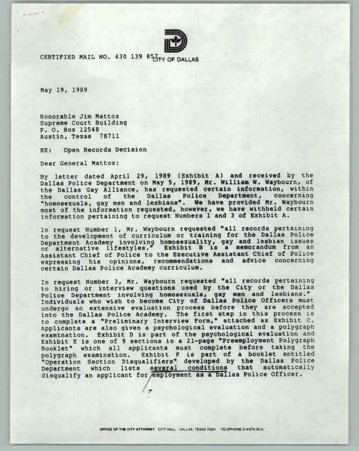 Letter with Handwritten Notes: Open Records Decision] - The