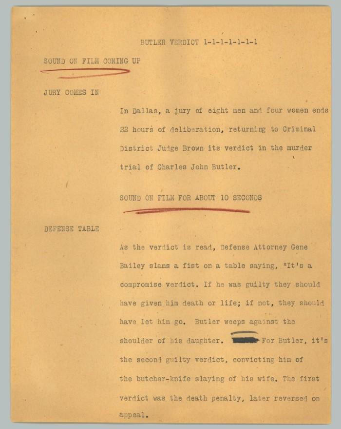 News Script: Butler Verdict] - The Portal to Texas History