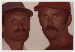 Primary view of object titled '[Terry Tebedo and Bill Nelson with visors]'.