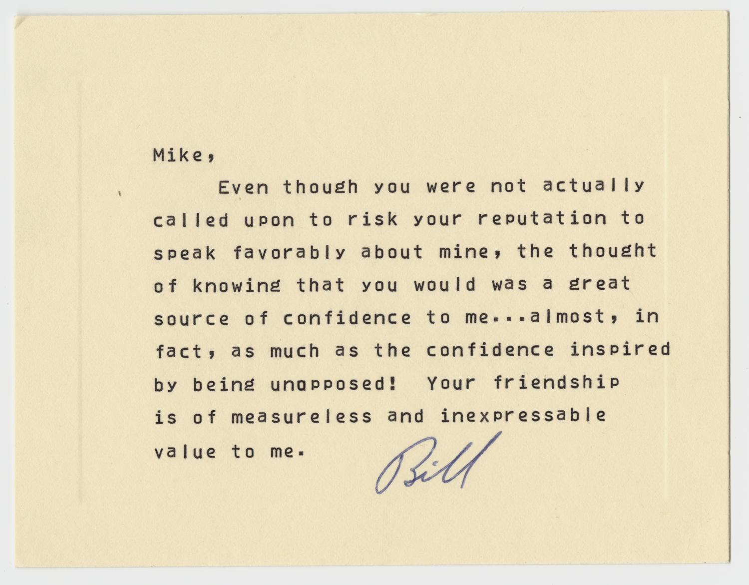 [Thank You Card: Bill to Mike]                                                                                                      [Sequence #]: 1 of 2