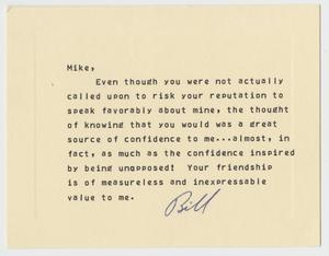 Primary view of object titled '[Thank You Card: Bill to Mike]'.