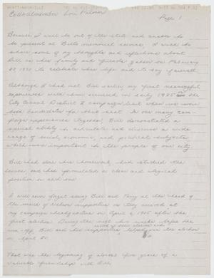 Primary view of object titled '[Fax: Handwritten Letter from Lori Palmer]'.