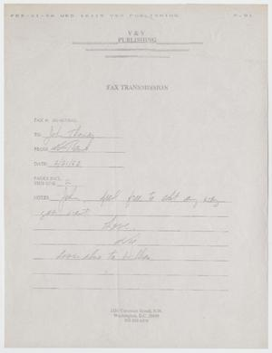 Primary view of object titled '[Fax: Letter from Vic Basile]'.