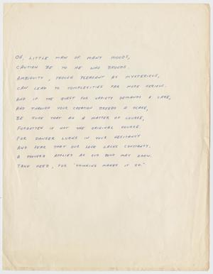 Primary view of object titled '[Handwritten Poem: Man of Many Moods]'.