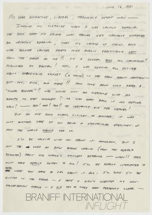 Primary view of object titled '[Letter: From Bill to Attractive, Liberal, Decent Man]'.