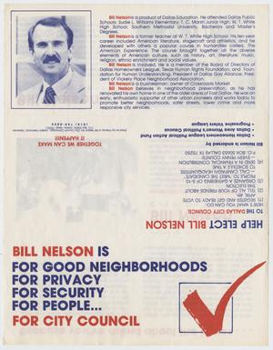 Primary view of object titled '[Pamphlet: Bill Nelson for City Council]'.