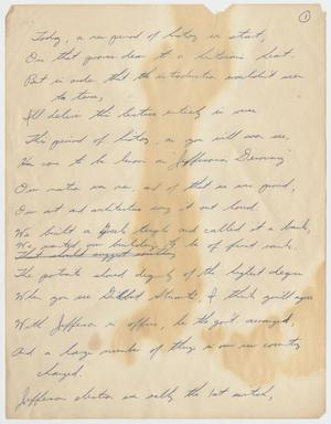 Primary view of object titled '[Handwritten Poem: American History]'.