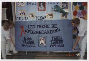 Primary view of object titled '[Photo: Bill Nelson memorial quilt]'.