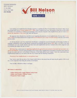 Primary view of object titled '[Flyer: Bill Nelson, City Council]'.