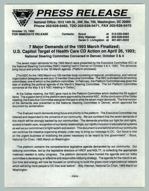 Primary view of object titled '[Press Release: 7 Major Demands of the 1993 March Finalized]'.