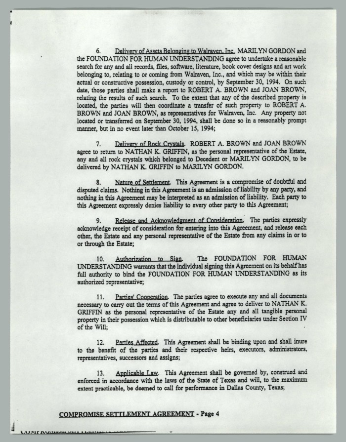 Compromise Settlement Agreement Page 7 Of 14 The Portal To
