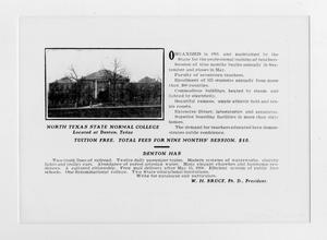 Un anuncio en una nota gastada. En la esquina superior izquierda, hay un edificio de la escuela detrás de varios árboles sin hojas. El resto está lleno con texto.