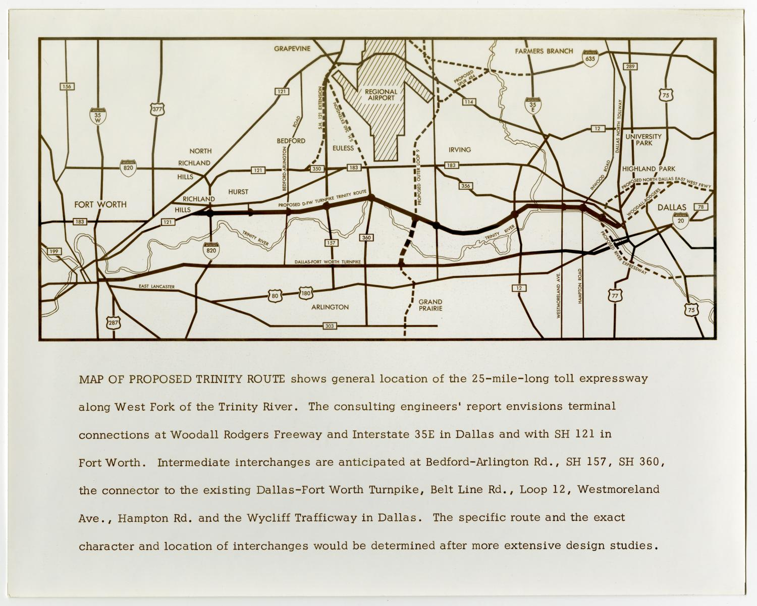 [Map of proposed Trinity Route], Map of the proposed Trinity Route stretching from Dallas to Fort Worth along the Trinity River.,