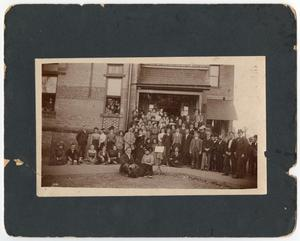 Primary view of object titled '[Men and women on the steps of the Normal Building, ca. 1904 or 1905]'.