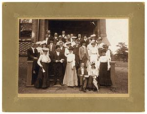 Primary view of object titled '[Men and women on the steps of the Normal Building, ca. 1900]'.