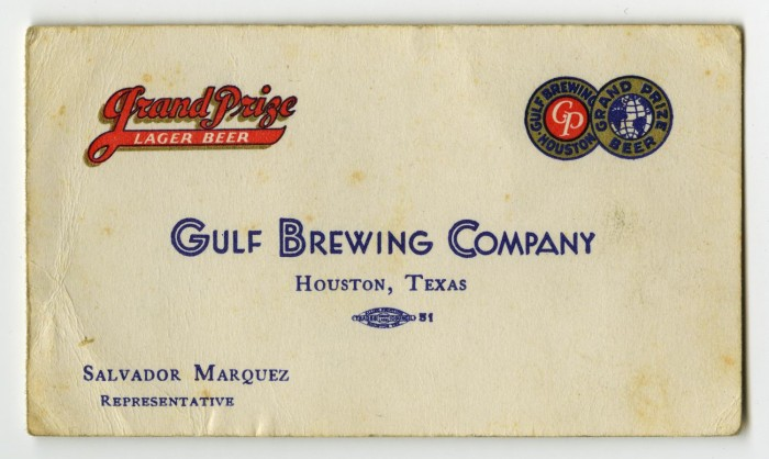 First side of: [Business card], a photograph available in the The Portal to Texas History