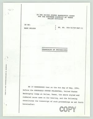Primary view of object titled '[Court Proceedings: Transcript for United States Bankruptcy Court]'.