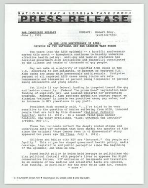 Primary view of object titled '[Press Release: AIDS Anniversary Opinion]'.