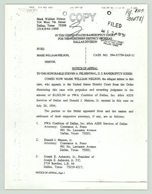 Legal Documents: Bankruptcy Court, Mark William Nelson Bankruptcy, 1992