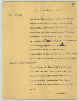 Primary view of [News Script: Old TCU dorm]