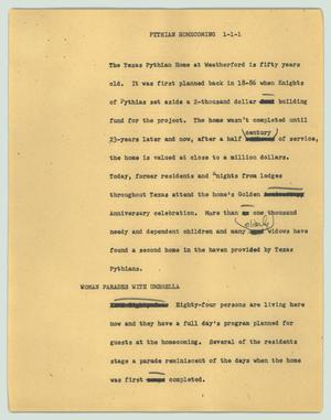 Primary view of object titled '[News Script: Pythian homecoming]'.