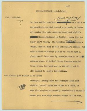 Primary view of object titled '[News Script: School burglary]'.