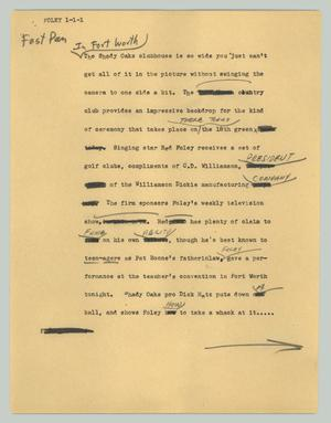Primary view of [News Script: Foley]
