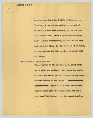 Primary view of object titled '[News Script: Antoine]'.