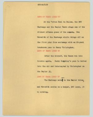 Primary view of object titled '[News Script: SMU-Baylor]'.