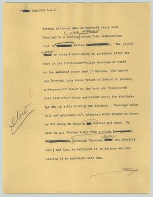 Primary view of object titled '[News Script: Dorrough]'.