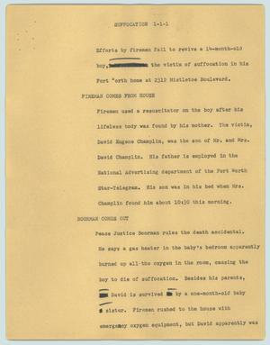 Primary view of object titled '[News Script: Suffocation]'.