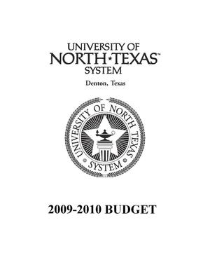 Primary view of object titled 'University of North Texas System Budget: 2009-2010'.