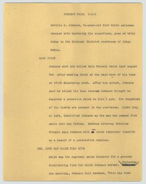 Primary view of [News Script: Johnson trial]