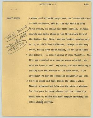 Primary view of object titled '[News Script: Store fire]'.