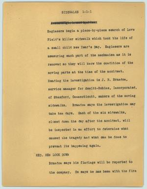 Primary view of object titled '[News Script: Sidewalks]'.
