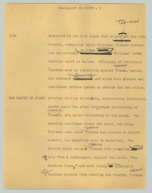 Primary view of object titled '[News Script: Evangelist in court]'.