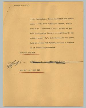 Primary view of object titled '[News Script: Prince]'.