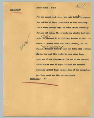 Primary view of object titled '[News Script: Negro march]'.