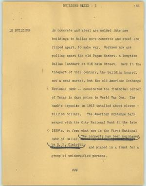 Primary view of object titled '[News Script: Building razed]'.