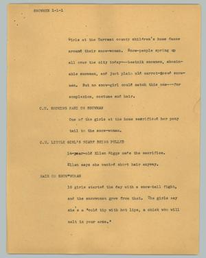 Primary view of object titled '[News Script: Snowmen]'.