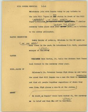 Primary view of object titled '[News Script: Will Rogers memorial]'.