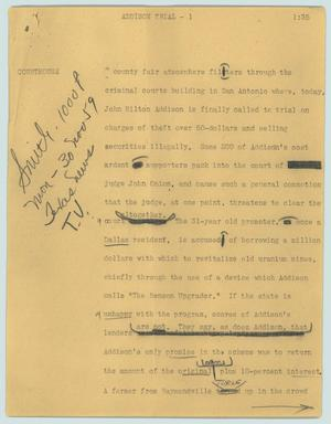Primary view of object titled '[News Script: Addison trial]'.