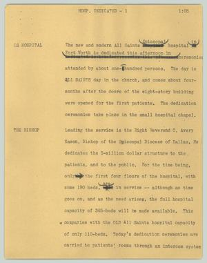 Primary view of object titled '[News Script: Hosp. dedicated]'.