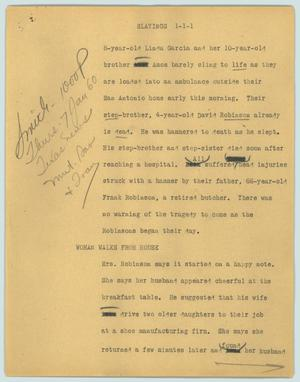Primary view of object titled '[News Script: Slayings]'.