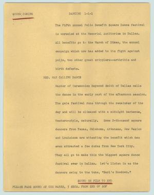 Primary view of object titled '[News Script: Dancing]'.