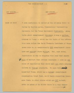 Primary view of object titled '[News Script: TEC comissioner]'.