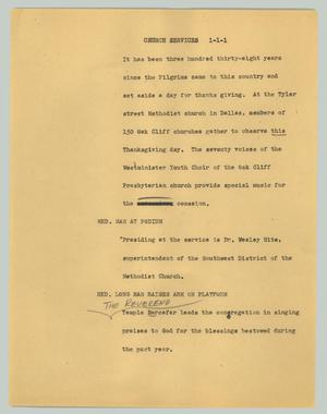 Primary view of object titled '[News Script: Church services]'.