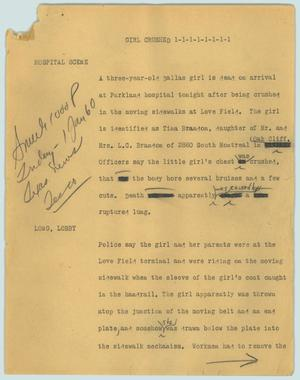 Primary view of object titled '[News Script: Girl crushed]'.