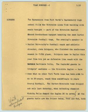 Primary view of object titled '[News Script: Team honored]'.