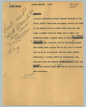 Primary view of object titled '[News Script: Ranger resigns]'.